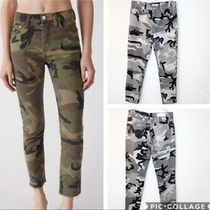 Re/Done High Rise Grey Camo Ankle Crop Jean 29 NWT